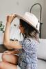 Genevieve Cream Printed Wool Panama Hat