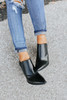 Faux Leather Pointed Booties