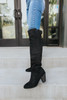 Faux Suede Thigh High Black Boots