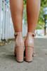 Faux Croc Ankle Strap Nude Block Heels