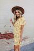 Short Sleeve Yellow Floral Wrap Dress