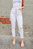 5-Button Distressed White Skinny Jeans