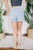 Drawstring Charcoal Striped Terry Shorts