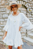 Ruffle Hem White Henley Dress