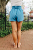 Gulf Breeze Tie Waist Teal Shorts