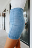 Quinn Light Wash Panel Denim Skirt