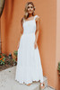 Open Back Textured White Tiered Maxi