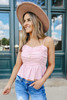 Sweetheart Ruched Blush Peplum Tank