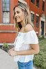Off the Shoulder White Embroidered Top