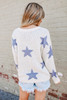 Open Knit Dusty Blue Star Sweater