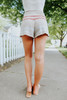 Drawstring Taupe Striped Lounge Shorts