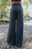 High Waist Charcoal Ribbed Pants