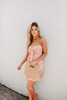Tie Front Coral Leopard Strapless Dress