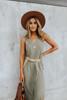 V-Neck Olive Curved Hem Midi Dress