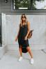 V-Neck Black Curved Hem Midi Dress