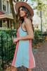 V-Neck Multi Stripe Linen Dress