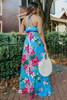 V-Neck Tropical Floral Halter Maxi