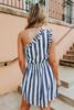 One Shoulder Navy Striped Dress