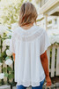 Short Sleeve Ruched Detail White Blouse