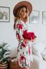 V-Neck Watercolor Floral Empire Dress