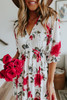 V-Neck Watercolor Floral Empire Dress