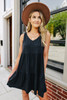 V-Neck Black Tiered Dress