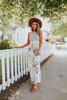 Summer Field Contrast Stripe Floral Maxi