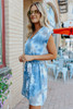 V-Neck Blue Tie Dye Tie Waist Dress