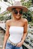 Strapless Ribbed White Bodysuit