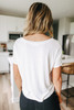 V-Neck White Knotted Crop Tee