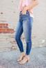 High Tide 4-Button Dark Wash Skinny Jeans
