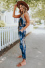 Scoop Neck Tie Dye Drawstring Jumpsuit