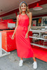 Tie Waist Red Knit Midi Dress