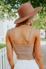 V-Neck Taupe Ribbed Sweater Tank