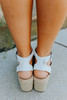 Weekend Retreat Espadrille Platform White Wedges
