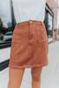 Contrast Stitch Faux Suede Brick Skirt