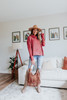 Cowl Neck Two Tone Rust Sweater