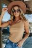 One Shoulder Camel Ribbed Suede Bodysuit