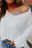 V-Neck Eyelash Ribbed Crop Sweater