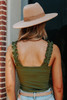 Ruffle Strap Olive Ribbed Bodysuit - FINAL SALE