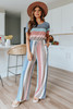 Short Sleeve Sweet Striped Jumpsuit