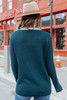 Chevron Green Colorblock Ribbed Sweater
