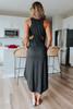 Cutout Racerback Black Midi Dress