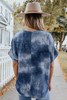 V-Neck Navy Tie Dye Satin Top