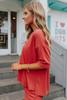 Short Sleeve Brick Ribbed Top