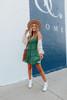 V-Neck Tie Back Green Tiered Dress