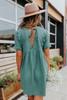 Short Sleeve V-Neck Green Babydoll Dress