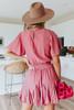 Short Sleeve Surplice Marsala Flounce Dress