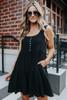 Button Down Black Tiered Dress