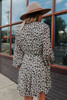 Button Detail Drawstring Leopard Dress